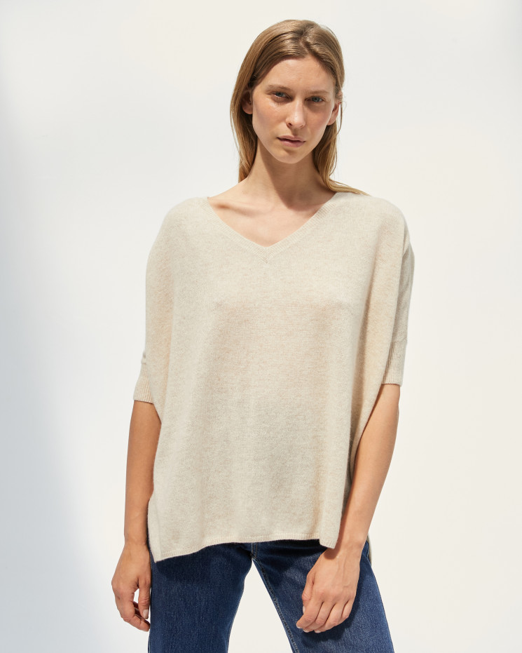 Women's cashmere oversized V-neck sweater short sleeves - beige chiné -  kate - absolut cashmere (front)
