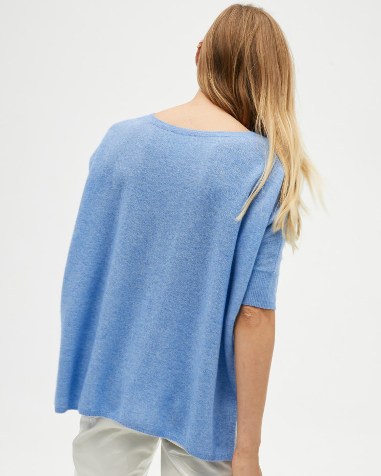 Women's cashmere oversized V-neck sweater short sleeves - écume - kate - absolut cashmere (front)