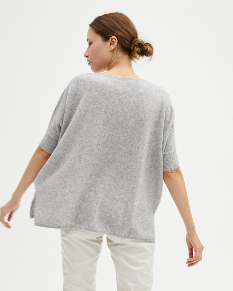 Women's cashmere oversized V-neck sweater short sleeves - gris chiné clair - kate - absolut cashmere (front)