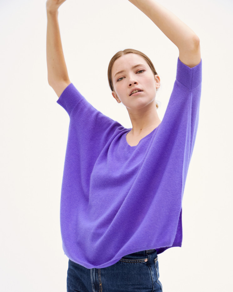 Women's cashmere oversized V-neck sweater short sleeves - licorne- kate - absolut cashmere (front)