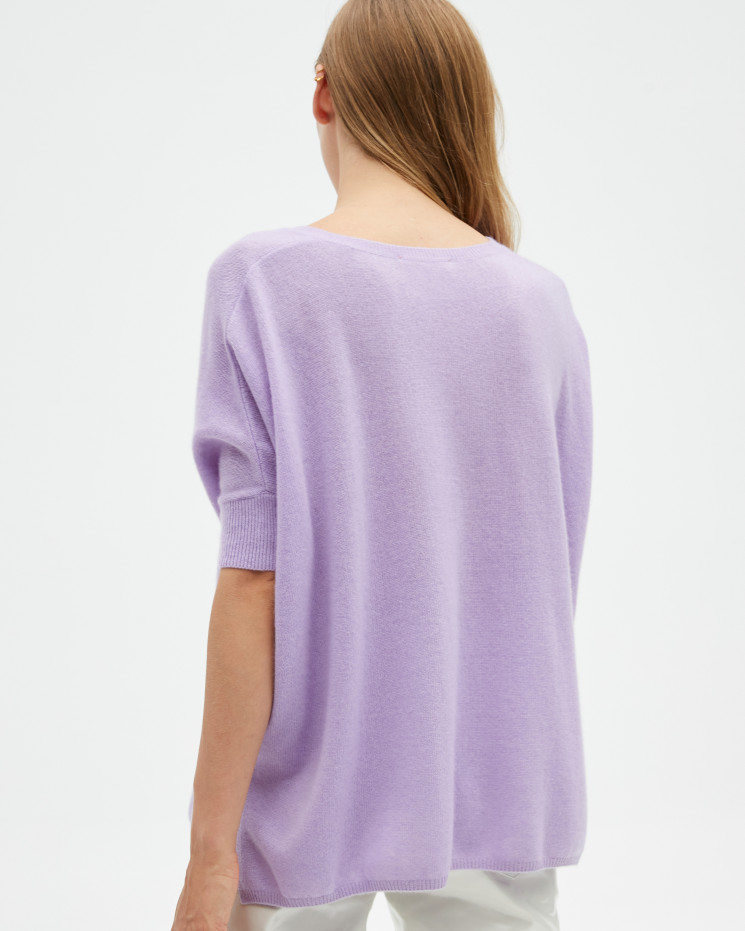 Women's cashmere oversized V-neck sweater short sleeves - pervenche - kate - absolut cashmere (front)