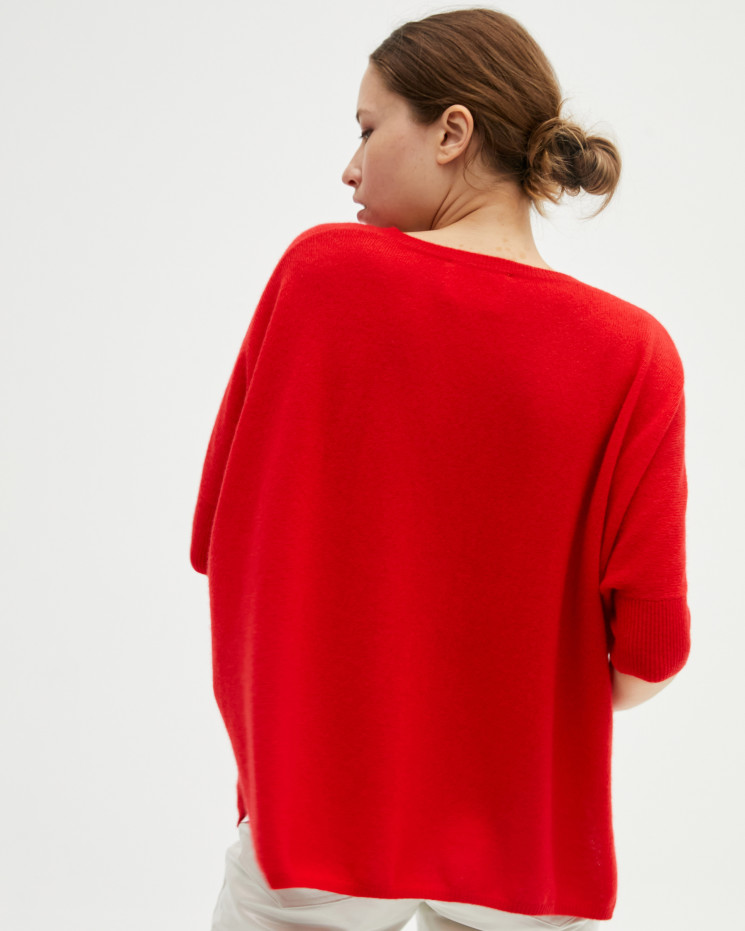 Women's cashmere oversized V-neck sweater short sleeves - pomme d'amour - kate - absolut cashmere (front)