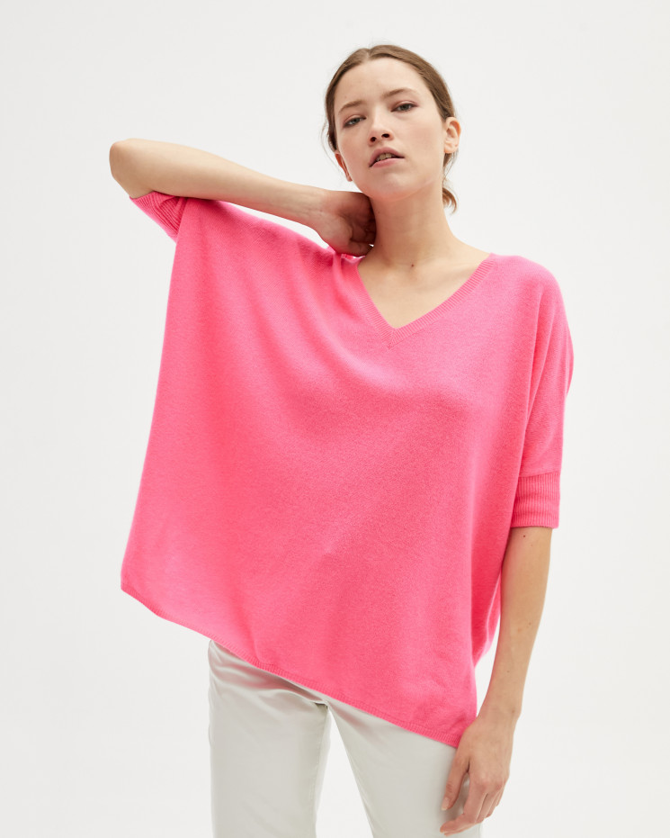 Women's cashmere oversized V-neck sweater short sleeves - rose fluo - kate - absolut cashmere (front)