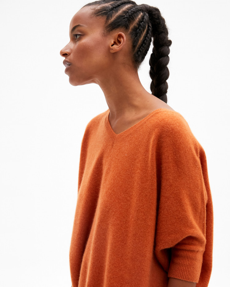 Women's cashmere oversized V-neck sweater short sleeves - rouille - kate - absolut cashmere (front)