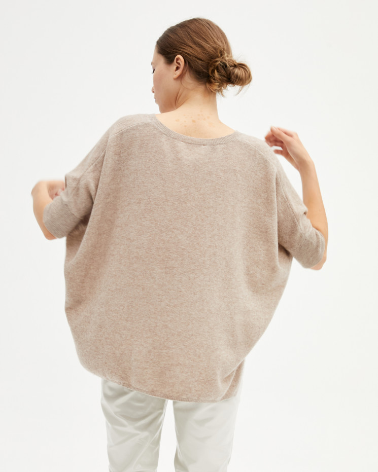 Poncho femme cachemire oversize col V manches courtes - taupe chiné - kate - absolut cashmere (avant)