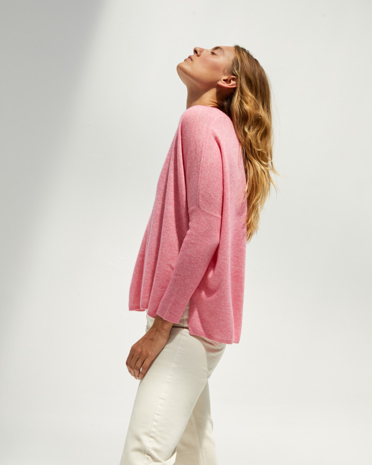 Women's cashmere oversized V-neck sweater long sleeves - ballerine - camille - absolut cashmere (front)