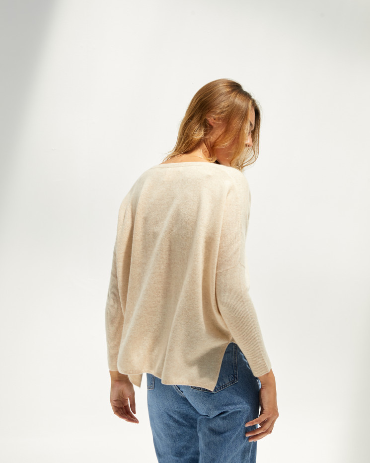 Women's cashmere oversized V-neck sweater long sleeves - beige chiné - camille - absolut cashmere (front)