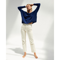 Women's cashmere oversized V-neck sweater long sleeves - abricot - camille - absolut cashmere (front)