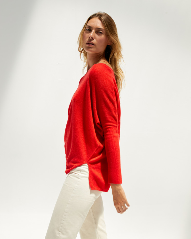 Women's cashmere oversized V-neck sweater long sleeves - pomme d'amour - camille - absolut cashmere (front)