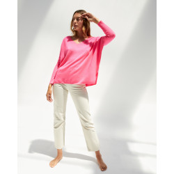 Women's cashmere oversized V-neck sweater long sleeves - rose fluo - camille - absolut cashmere (front)