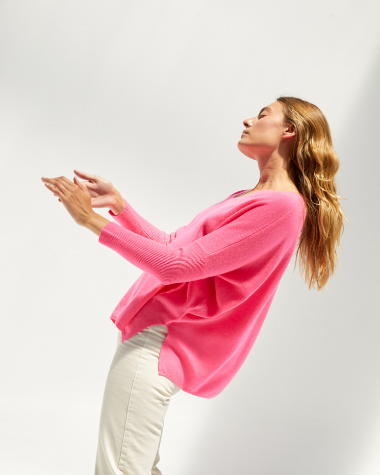 Poncho cachemire femme oversize col V manches longues - rose fluo - camille - absolut cashmere (avant 2)