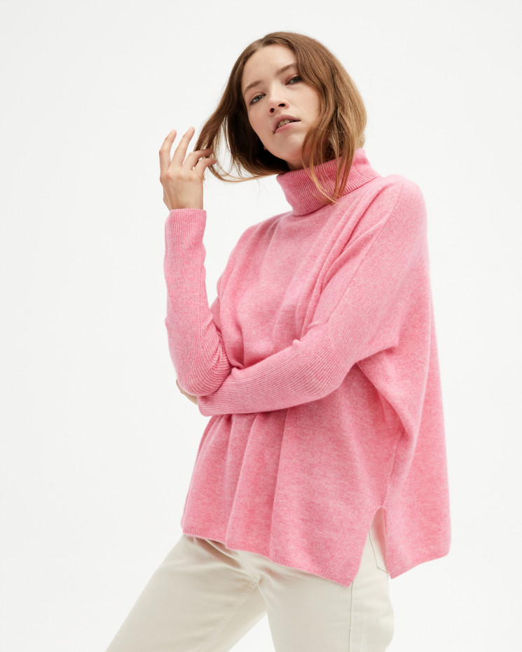 Women's large cashmere turtleneck poncho long sleeves - ballerine - clara - absolut cashmere (front)