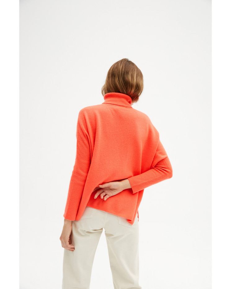 Women's large cashmere turtleneck poncho long sleeves - corail fluo - clara - absolut cashmere (front 2)