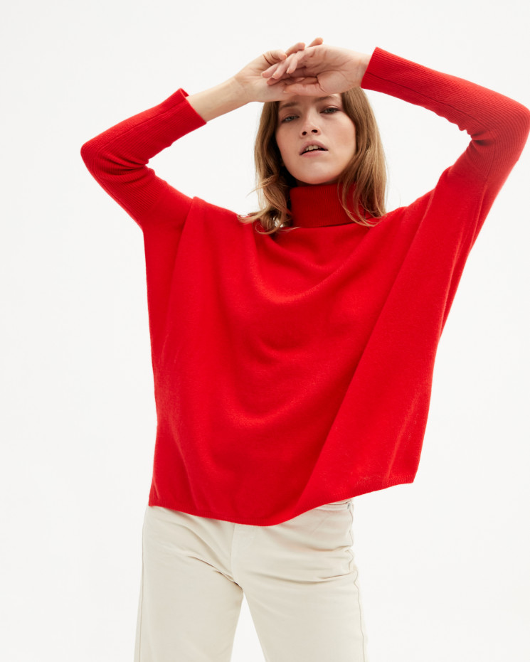 Women's large cashmere turtleneck poncho long sleeves - pomme d'amour - clara - absolut cashmere (front)
