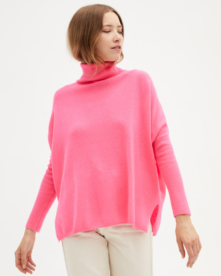Women's large cashmere turtleneck poncho long sleeves - rose fluo - clara - absolut cashmere (front)