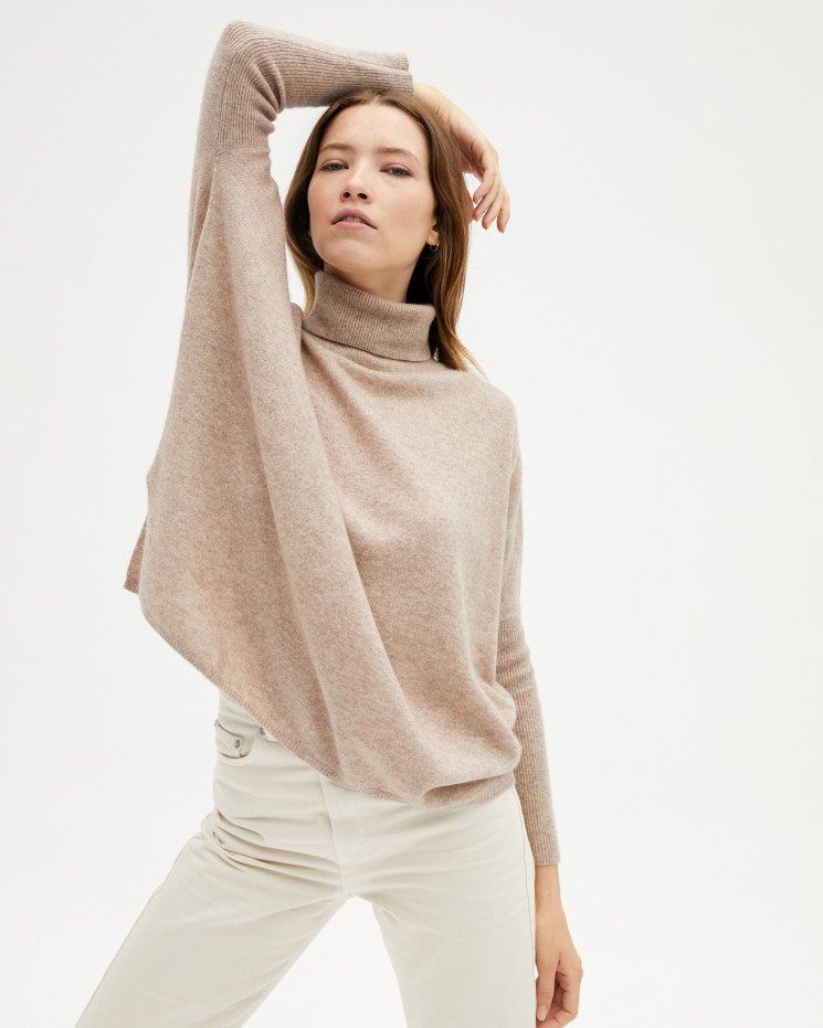 Women's large cashmere turtleneck poncho long sleeves - taupe chiné - clara - absolut cashmere (front)
