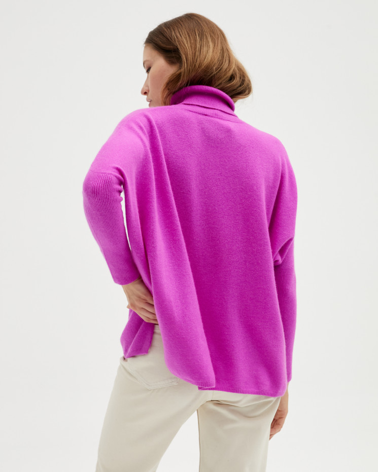 Women's large cashmere turtleneck poncho long sleeves - violet fluo - clara - absolut cashmere (front)