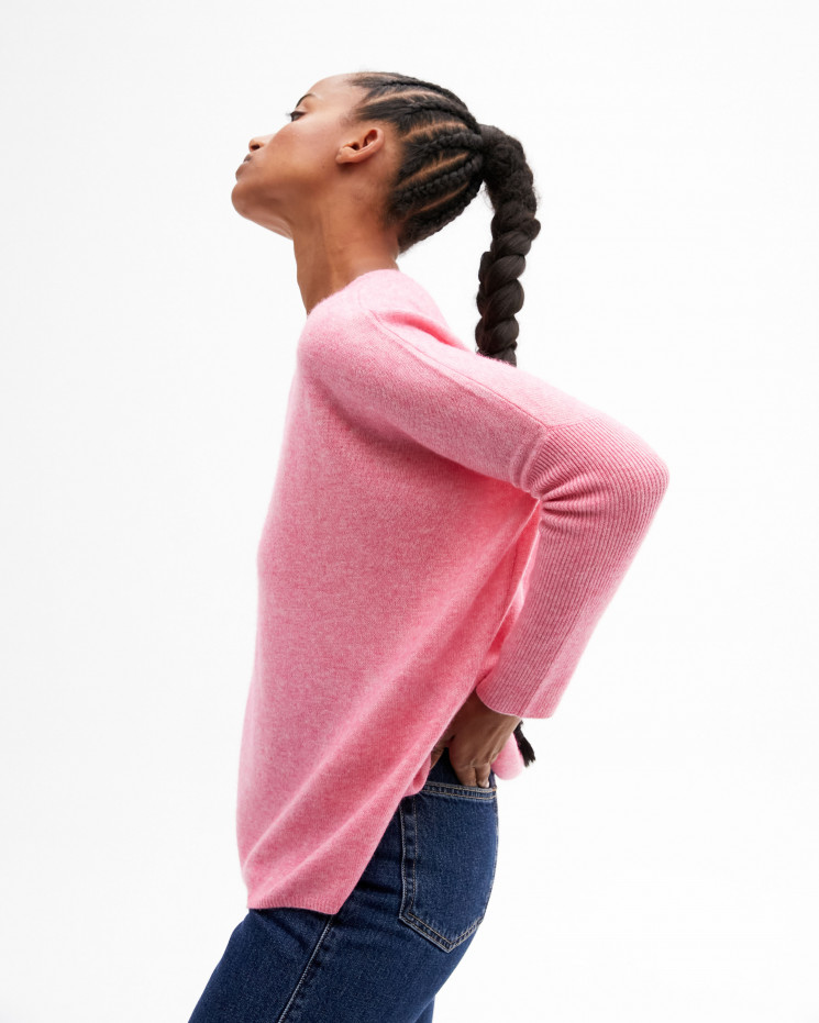 Women's oversized cashmere round-neck sweater long sleeves - ballerine - astrid - absolut cashmere (front)