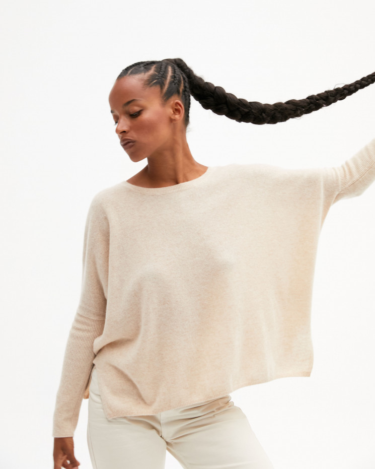 Women's oversized cashmere round-neck sweater long sleeves - beige chiné - astrid - absolut cashmere (front)
