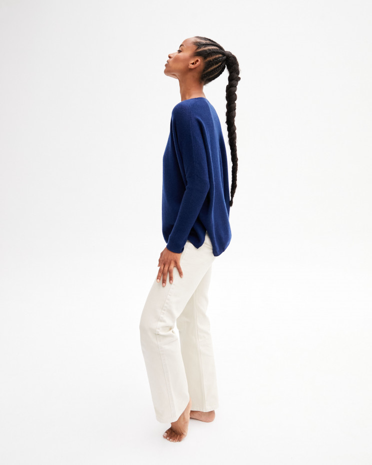 Women's oversized cashmere round-neck sweater long sleeves - bleu profond - astrid - absolut cashmere (front)