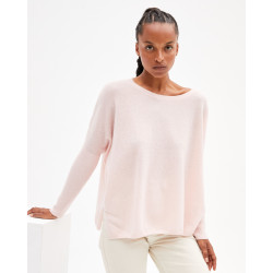 Women's oversized cashmere round-neck sweater long sleeves - abricot - astrid - absolut cashmere (front)