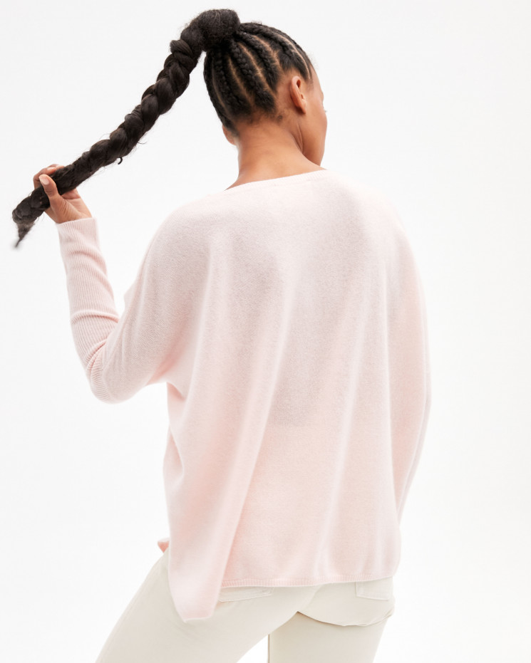 Women's oversized cashmere round-neck sweater long sleeves - blush - astrid - absolut cashmere (front)