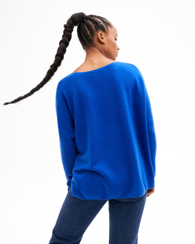 Women's oversized cashmere round-neck sweater long sleeves - cobalt - astrid - absolut cashmere (front)