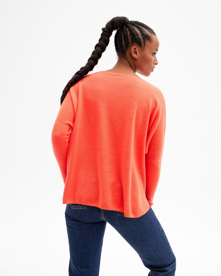 Women's oversized cashmere round-neck sweater long sleeves - corail fluo - astrid - absolut cashmere (front)