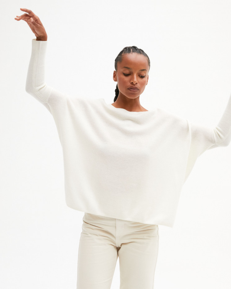 Women's oversized cashmere round-neck sweater long sleeves - écru - astrid - absolut cashmere (front)
