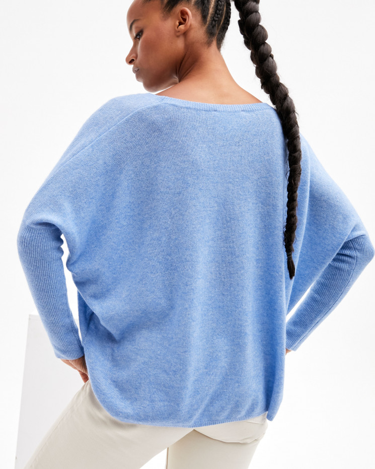 Women's oversized cashmere round-neck sweater long sleeves - écume - astrid - absolut cashmere (front)
