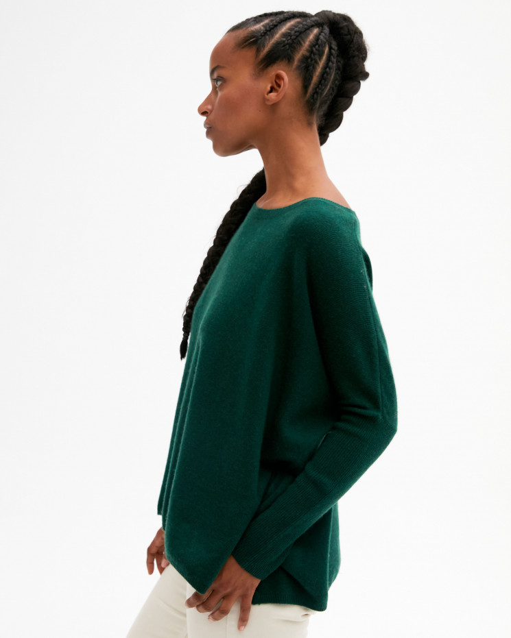 Women's oversized cashmere round-neck sweater long sleeves - forêt - astrid - absolut cashmere (front)