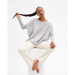 Women's oversized cashmere round-neck sweater long sleeves - gris chiné clair - astrid - absolut cashmere (front)