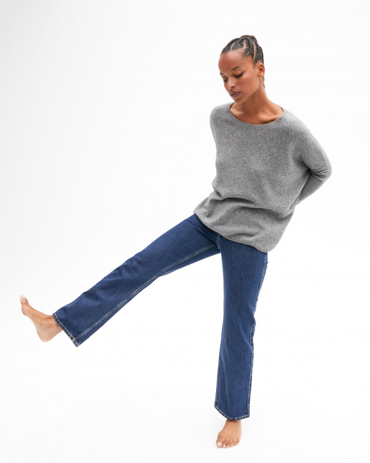 Women's oversized cashmere round-neck sweater long sleeves - gris chiné foncé - astrid - absolut cashmere (front)