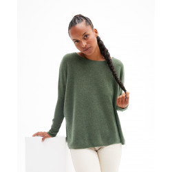 Women's oversized cashmere round-neck sweater long sleeves - pomme d'amour - astrid - absolut cashmere (front)