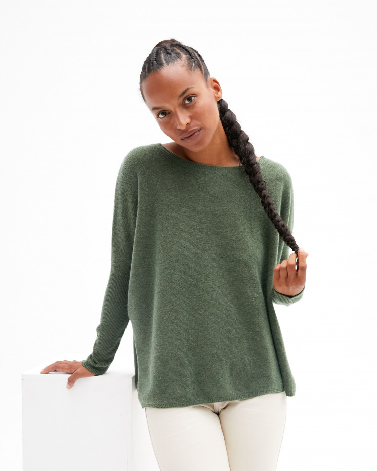 Women's oversized cashmere round-neck sweater long sleeves - kaki - astrid - absolut cashmere (front)
