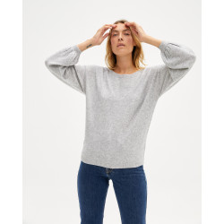 Women's cashmere round-neck sweater balloon sleeves - gris chiné clair - jade - absolut cashmere (front)