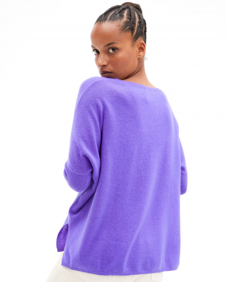 Women's oversized cashmere round-neck sweater long sleeves - licorne - astrid - absolut cashmere (front)