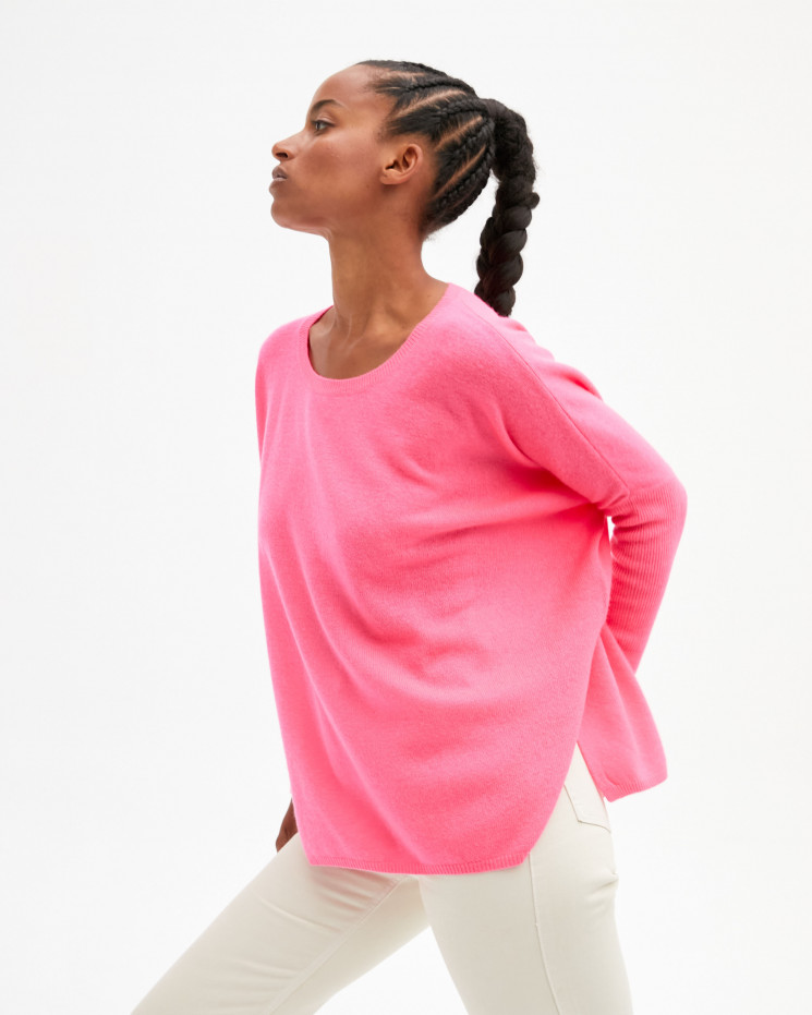 Women's oversized cashmere round-neck sweater long sleeves - rose fluo  - astrid - absolut cashmere (front)