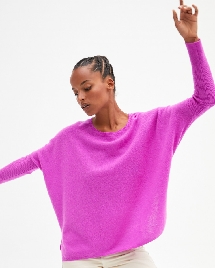 Women's oversized cashmere round-neck sweater long sleeves - violet fluo  - astrid - absolut cashmere (front)