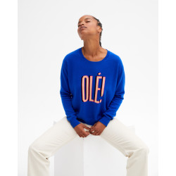 Women's cashmere round-neck sweater long sleeves olé artwork - cobalt - ava - absolut cashmere (front)