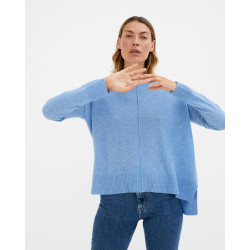 Women's large cashmere round-neck sweater long sleeves - camel - kenza - absolut cashmere (front)