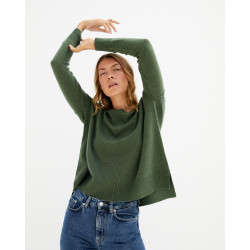 Pull femme cachemire col rond manches longues - pervenche - kenza - absolut cashmere (avant)