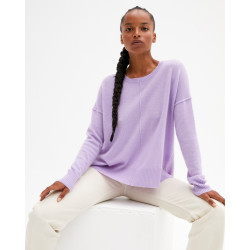 Women's large cashmere round-neck sweater long sleeves - pervenche - kenza - absolut cashmere (front)
