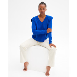 Women's cashmere V-neck sweater ruffled sleeves - cobalt - agne - absolut cashmere (front)