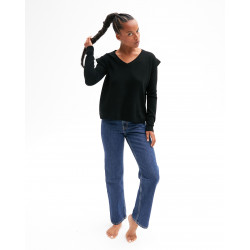Women's cashmere V-neck sweater ruffled sleeves - gris chiné clair - agne - absolut cashmere (front)