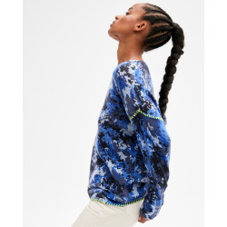 Women's cashmere round-neck sweater long sleeves camo print - nuit finitions jaune fluo - suzanna - absolut cashmere (side)