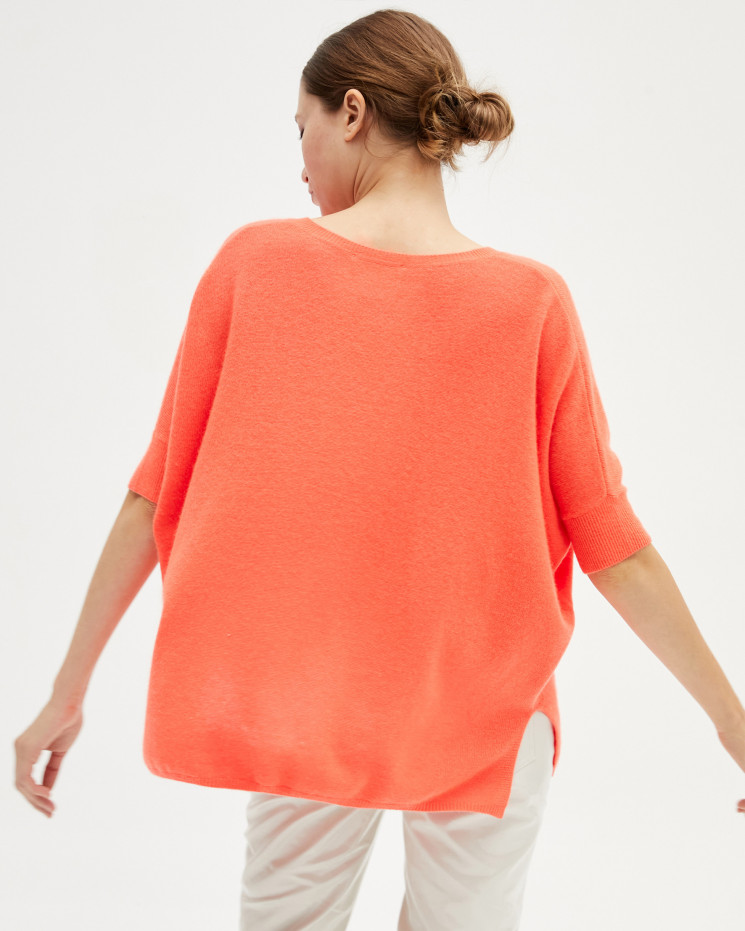 Women's cashmere oversized V-neck sweater short sleeves - corail fluo - kate - absolut cashmere (front)