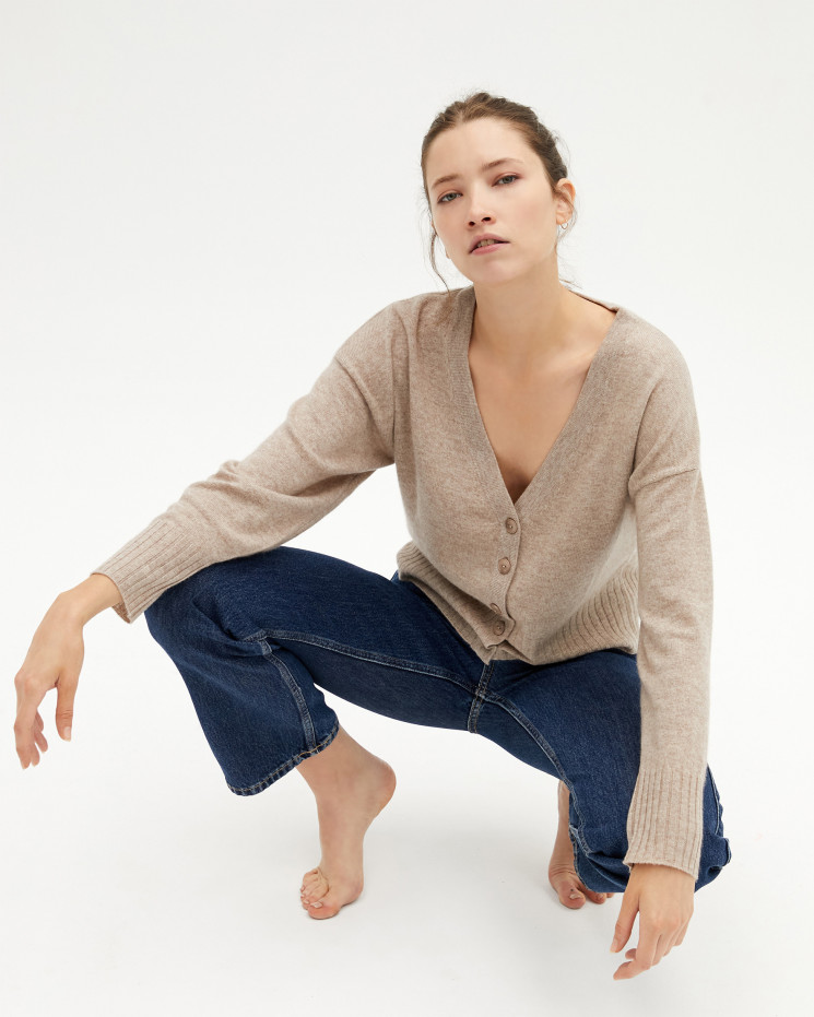 Women's cashmere V-neck cardigan long sleeves - mathilde - taupe chiné - absolut cashmere (front)