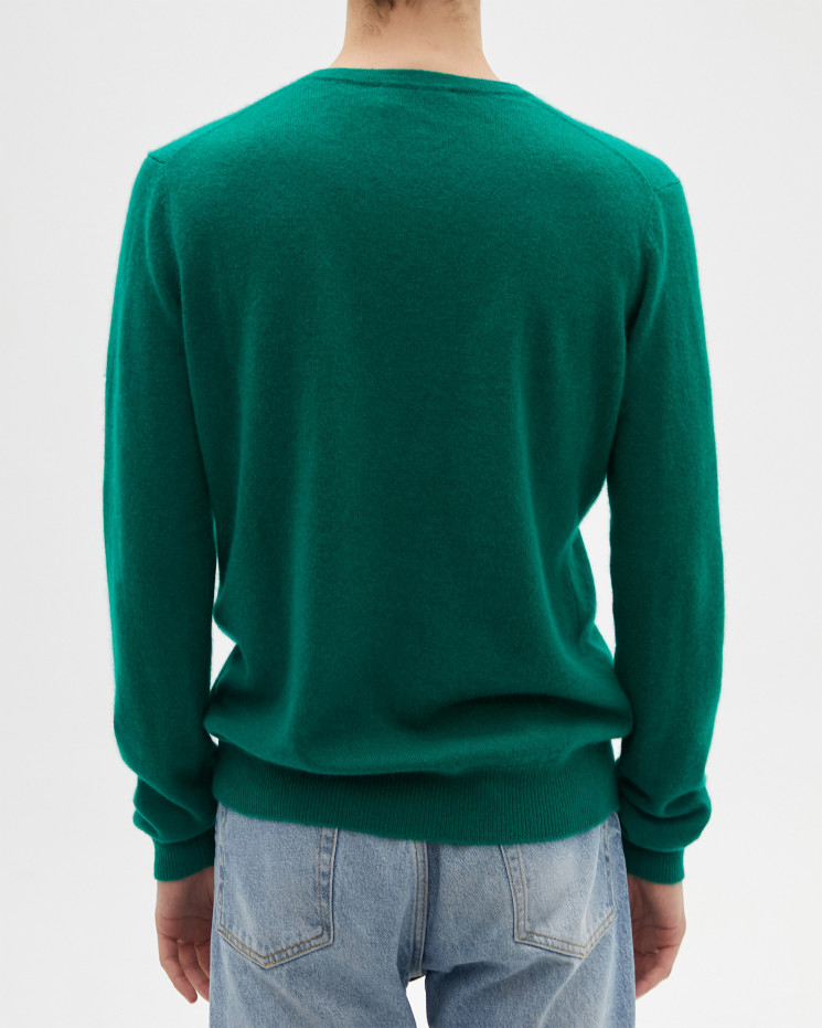 Men's cashmere V-neck sweater long sleeves - perruche - paul - absolut cashmere (front)