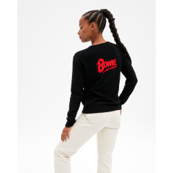 Women's cashmere round-neck sweater long sleeves David Bowie wording - noir - big brother - absolut cashmere (back)